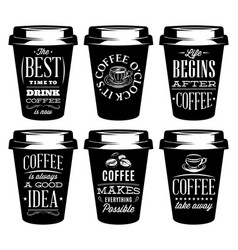 Monochrome set of patterns for paper cups for vector