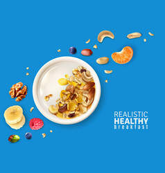 Muesli breakfast background realistic vector