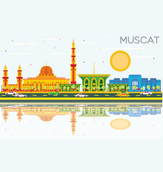 muscat skyline with color buildings blue sky and vector image