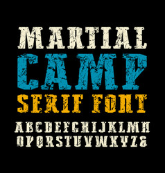 Narrow serif font in military style vector