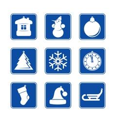 NY Icon set Blue 2 vector image