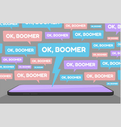 Ok boomer social media spam vector