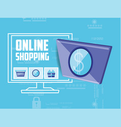 On line shopping with desktop vector