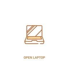 Open laptop concept 2 colored icon simple line vector