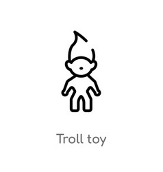 Outline troll toy icon isolated black simple line vector