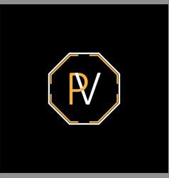 p v joint letter logo creative design vector image