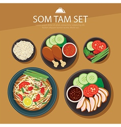 Papaya salad som tam thai food flat design vector