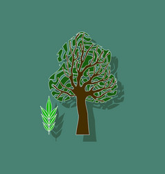 Paper sticker on stylish background plant fraxinus vector
