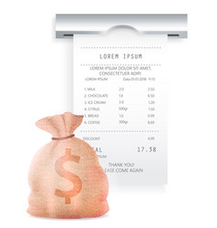 payment check paper document poked out cash vector image