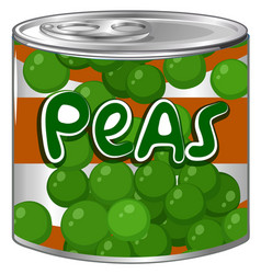 Peas in round can vector