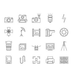 photography signs black thin line icon set vector image