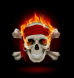 Pirate skull in flames on black vector