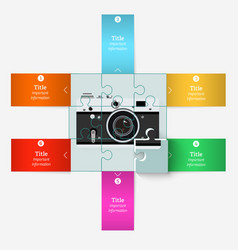 Puzzle with an old camera with elements vector image