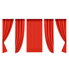 red silk curtains collection theater stage design vector image