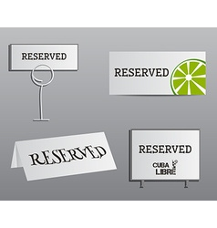 Reservation sign mock up template Summer cocktail vector