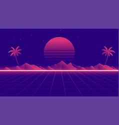 retro 80s landscape scene in game style vector image