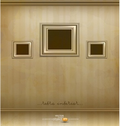 Retro room with three frames vector