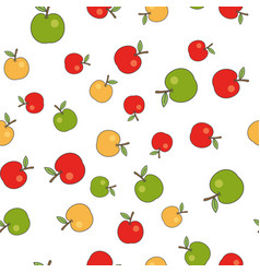 ripe apples flat seamless pattern on white vector image