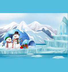 Scene with snowman and igloo vector