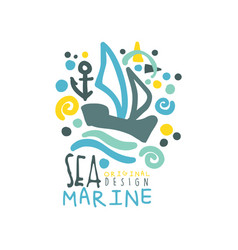 sea marine original logo design template with ship vector image