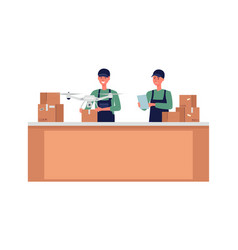 service packaging goods for drone delivery flat vector image
