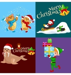 Set animals winter holiday North Pole vector