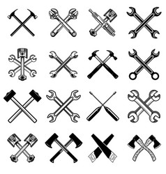 set crossed saws hammers pistons wrench axe vector image