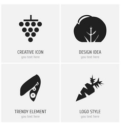 Set of 4 editable berry icons includes symbols vector