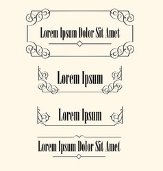 set of calligraphic frames borders with space for vector image