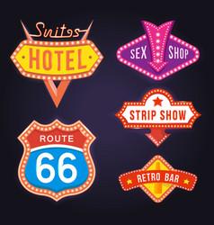 set of retro neon signboards vector image