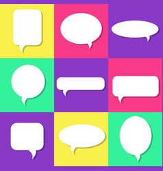 set of white speech bubbles with shadows icons set vector image