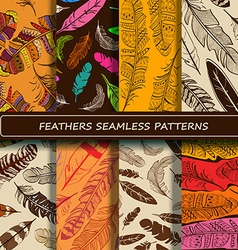 Set of yellow brown abstract ethnic bird feather vector image