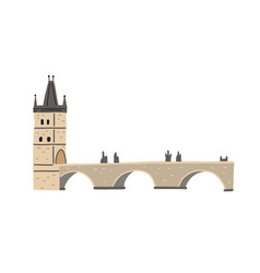 stone charles bridge with tower and statues in vector image