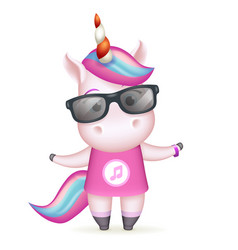 sunglasses happy girl unicorn isolated 3d cute vector image