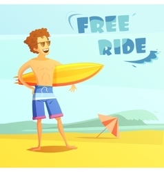 Surfing Retro Cartoon vector