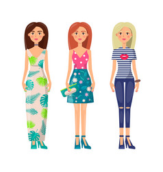 three cute ladies in vogue clothes image vector image