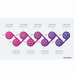 Timeline infographic design with ellipses 9 steps vector