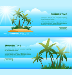 tropical island palm trees web banners vector image