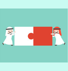 Two arab businessman connect puzzle pieces flat vector