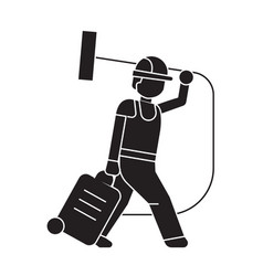 vacuum cleaner carrying black concept icon vector image