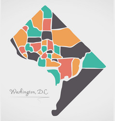 washington dc map with neighborhoods and modern vector image