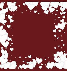 White heart love confettis valentines day frame vector