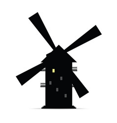 Windmill silhouette with window light two vector