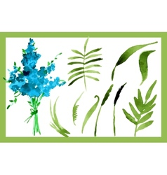 With flowers forget-me-painted vector