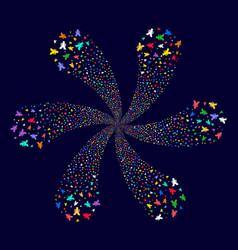 Yen centrifugal flower with six petals vector