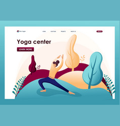 yoga outdoors in park flat 2d character vector image