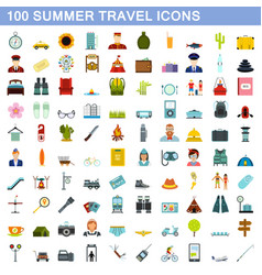 100 summer travel icons set flat style vector image vector image