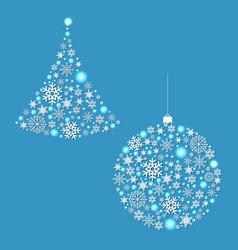 fir tree and xmas ball vector image