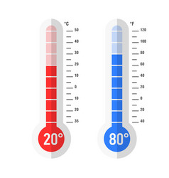 flat style celsius and fahrenheit thermometers vector image vector image