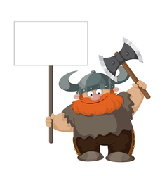 viking with blank sign vector image vector image